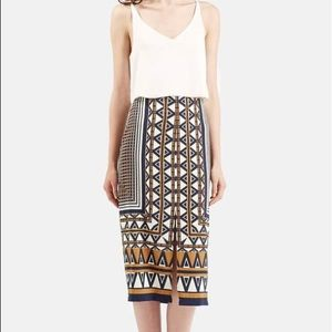 TopShop Women's Print Midi Skirt